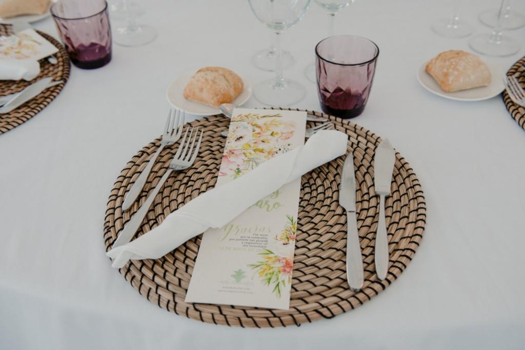 detalle mesa boda romantica