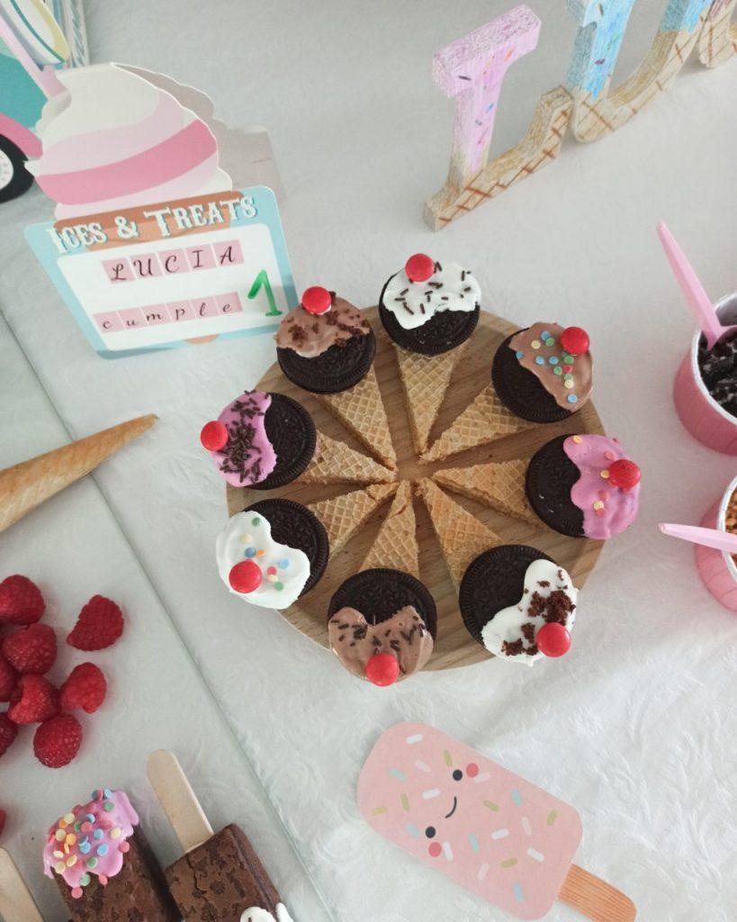receta decoración fiesta de helados